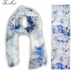 SCIARPA AMALFI blue flowers