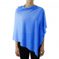 poncho puro lino azzurro